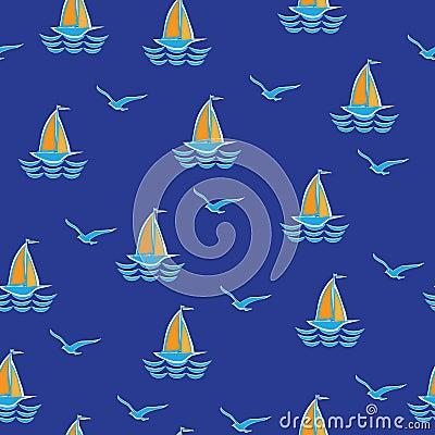Sea, sailboat and seagulls.
