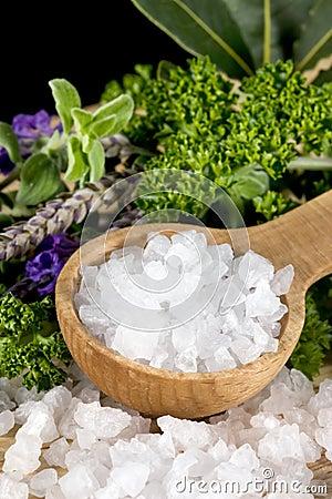Free Sea Salt And Herbs Stock Photos - 13078133
