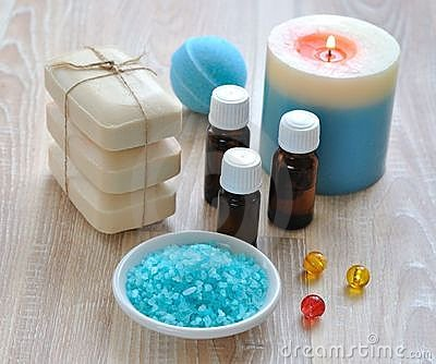 Sea salt, essential oils, soap and candle