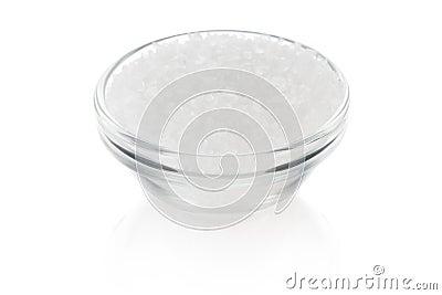 Sea salt in salt dish