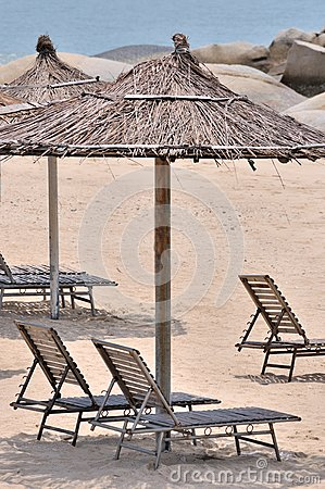 Sea sand sunshade and chair