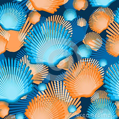 Free Sea Scallop Seashell Semless Pattern. Vector. Royalty Free Stock Photo - 43499555