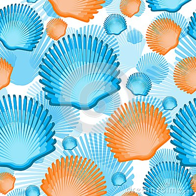Free Sea Scallop Seashell Semless Pattern. Vector. Royalty Free Stock Images - 43499559