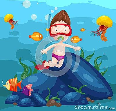 Sea scape cute boy snorkeling