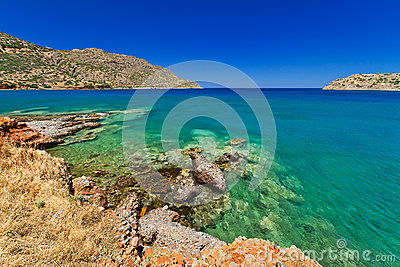 Sea scenery in Plaka town on Crete