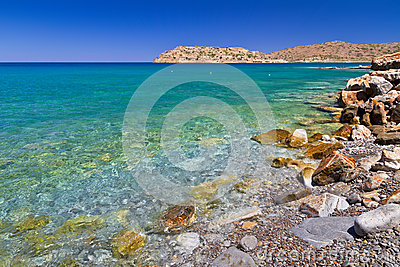 Sea scenery at Spinalonga island on Crete