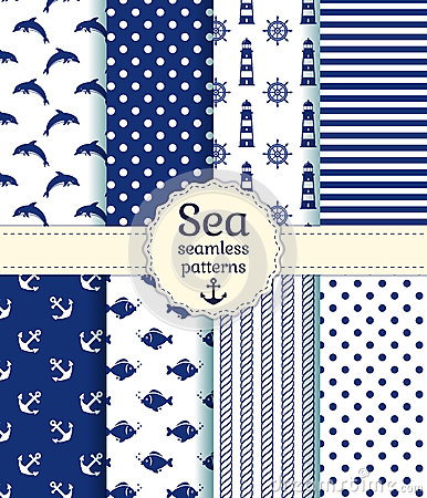 Free Sea Seamless Patterns. Vector Collection. Royalty Free Stock Image - 39774826