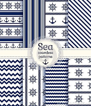 Free Sea Seamless Patterns. Vector Collection. Stock Photos - 40059643