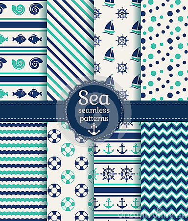 Free Sea Seamless Patterns. Vector Collection. Stock Photography - 40093672
