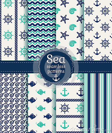 Free Sea Seamless Patterns. Vector Collection. Stock Images - 40093884
