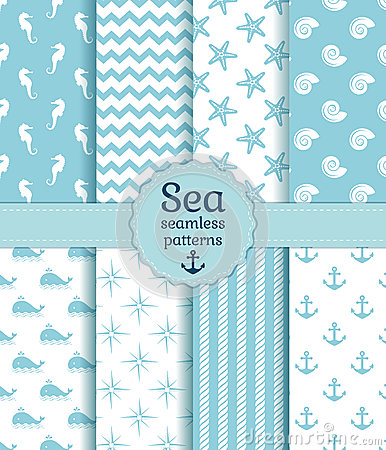 Free Sea Seamless Patterns. Vector Collection. Royalty Free Stock Image - 40571016