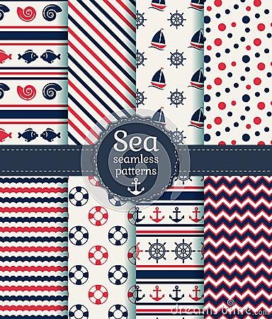 Free Sea Seamless Patterns. Vector Collection. Stock Photos - 40572443