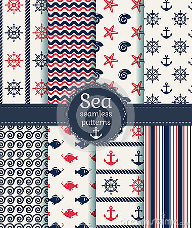 Free Sea Seamless Patterns. Vector Collection. Royalty Free Stock Image - 40572676