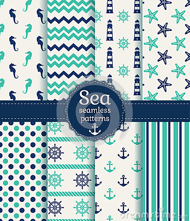 Free Sea Seamless Patterns. Vector Collection. Stock Photo - 40583230