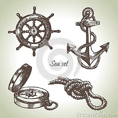 Free Sea Set Of Nautical Design Elements Royalty Free Stock Photography - 26490997