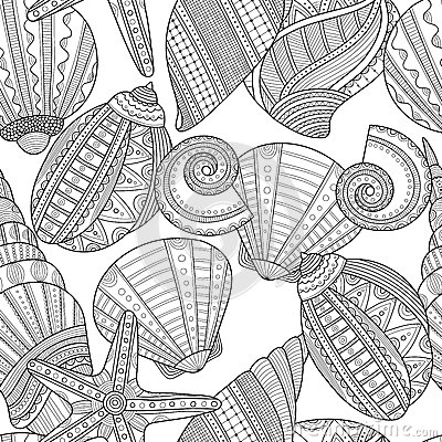 Free Sea Shells. Black And White Seamless Pattern For Coloring Book Royalty Free Stock Photo - 69475675