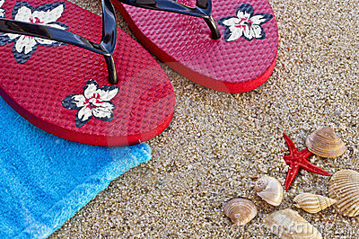Sea shells with sandals and a towel