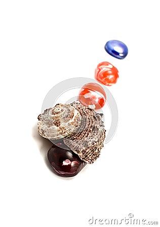 Sea shells and semiprecious stones