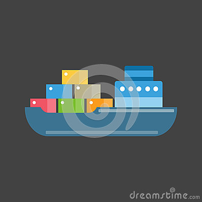 Sea ship transport vector. Vector Illustration