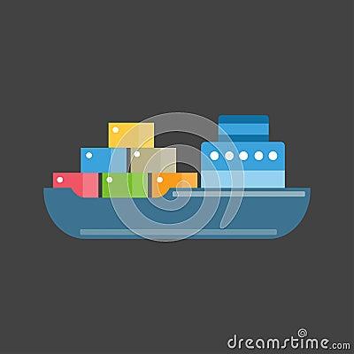 Sea ship transport vector. Vector Illustration