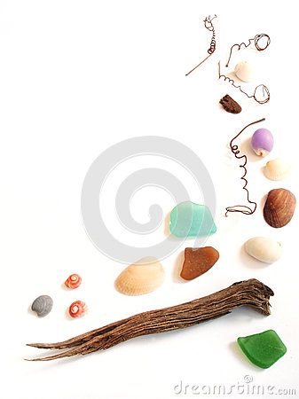 Free Sea Shore Collection Items Frame Border Stock Photography - 24691002