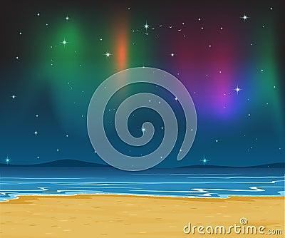 Sea shore and stars in night sky