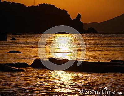 sea, silhouette of mountains