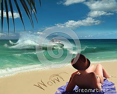 Sea, sun, delight & fun .