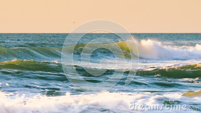 Sea Sunrise. Rolling ocean waves. stock video footage