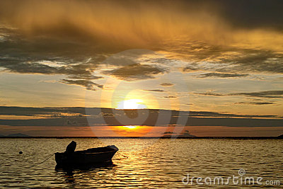 Sea sunset and boat.