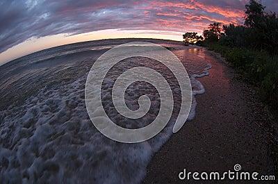 Sea sunset fisheye view