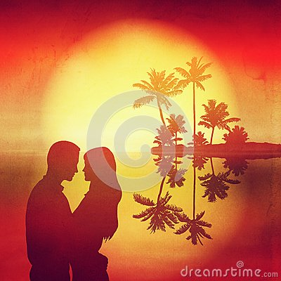 Sea sunset. Island with palm trees and silhouette