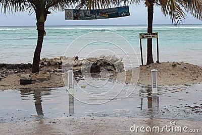 Sea surge boardwalk in Mahahual Hurricane Ernesto Editorial Image