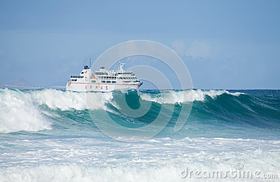 Sea swell and ferry Editorial Image