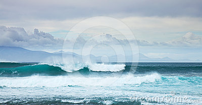 Sea swell by the northern shore of Fuerteventura