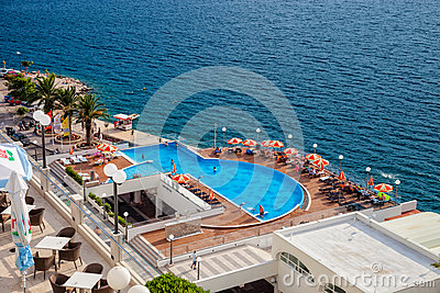 Sea with swimming pool Editorial Stock Image