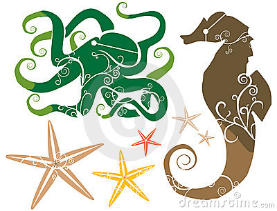Sea Theme: Seahorse Octopus Starfish COLOR
