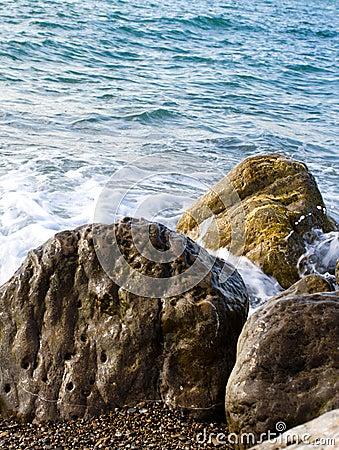 Sea tide over rocks