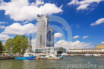 Sea Towers skyscraper in Gdynia, Poland Editorial Photography