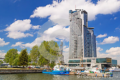 Sea Towers skyscraper in Gdynia, Poland Editorial Stock Image