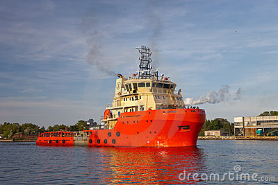 Sea trials tug Editorial Photography