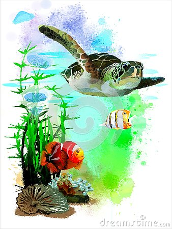 Free Sea Turtle And Tropical Fish On Abstract Watercolor Background. Royalty Free Stock Image - 133851576