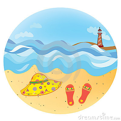 Sea vacation round icon