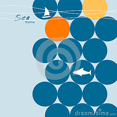 Sea vector background with a shark