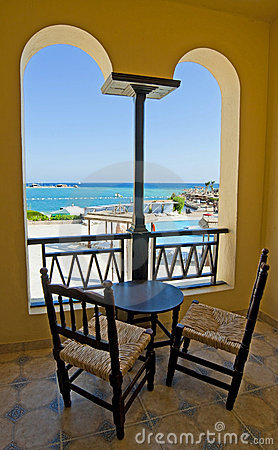 Sea view from a hotel room balcony
