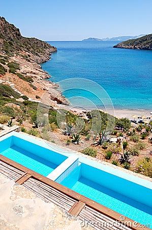 Sea view swimming pools at the luxury villa