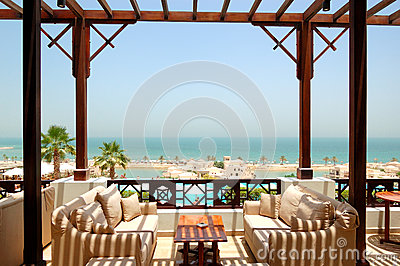 Sea view terrace at luxury hotel