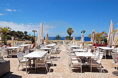 Sea view terrace of the luxury hotel s restaurant