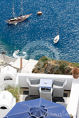 Sea view on yacht from terrace Santorini Greece