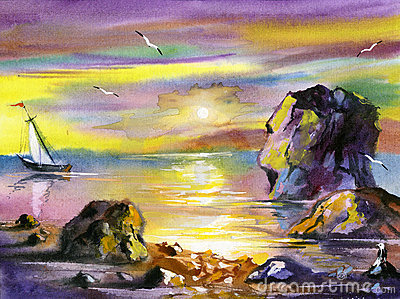 Sea water colour landscape